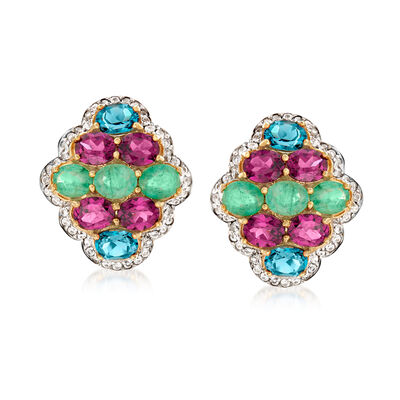 7.60 ct. t.w. Multi-Gemstone Earrings in 18kt Gold Over Sterling, , default