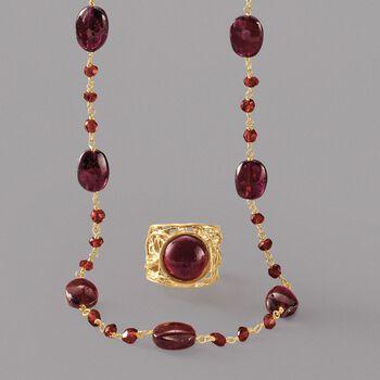 38.00 ct. t.w. Garnet Bead Necklace in 14kt Gold Over Sterling, , default