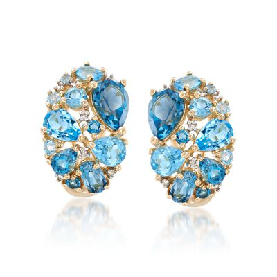 5.56 ct. t.w. Tonal Blue Topaz Cluster Earrings with Diamond Accents in 14kt Yellow Gold, , default