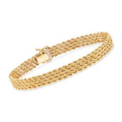 "Italian 14kt Yellow Gold Four-Strand Rope Bracelet. 7.5"", , default"