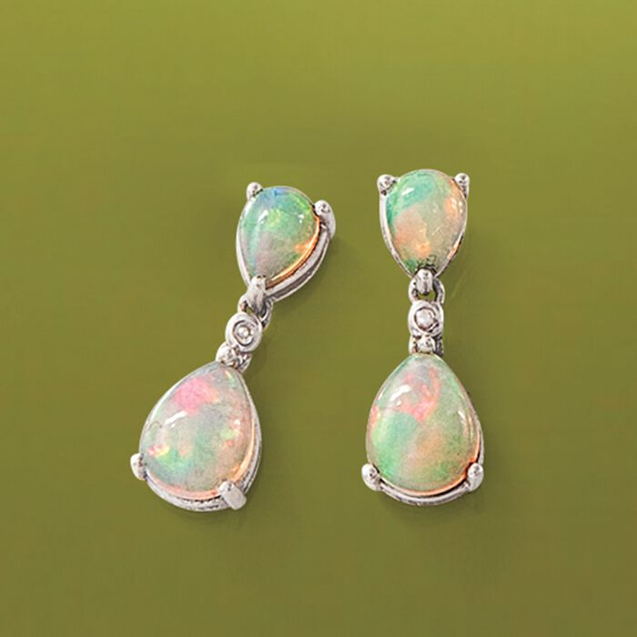 Opal Double Drop Earrings with Diamond Accents in Sterling Silver