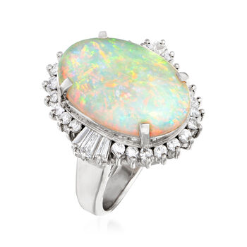 C. 1980 Vintage 5.02 Carat Opal and .74 ct. t.w. Diamond Ring in Platinum. Size 5.75