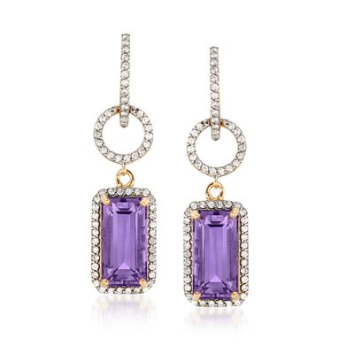 8.00 ct. t.w. Amethyst and 1.00 ct. t.w. White Zircon Open-Circle Drop Earrings in 18kt Gold Over Sterling