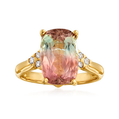 5.00 Carat Multicolored Tourmaline and .16 ct. t.w. Diamond Ring in 14kt Yellow Gold