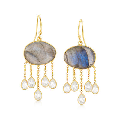 Labradorite and 2.00 ct. t.w. White Quartz Drop Earrings in 18kt Gold Over Sterling