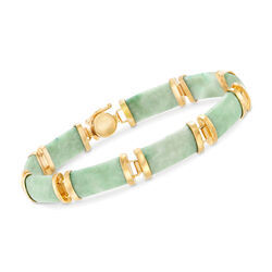 "Green Jade Bar Bracelet in 18kt Gold Over Sterling. 7.5"", , default"