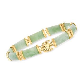 """Green Jade Bar Bracelet in 18kt Gold Over Sterling. 7.5"""", , default"""