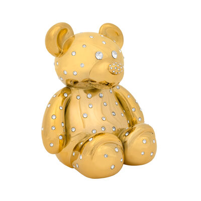 Crystamas Swarovski Crystal 24kt Gold-Plated Teddy Bear Statue