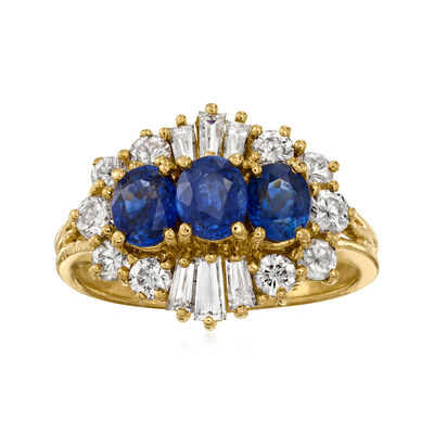 C. 1990 Vintage 1.15 ct. t.w. Sapphire and 1.00 ct. t.w. Diamond Ring in 18kt Yellow Gold