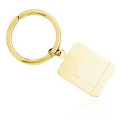 14kt Yellow Gold Rectangle Three-Initial Engravable Disc Key Ring, , default