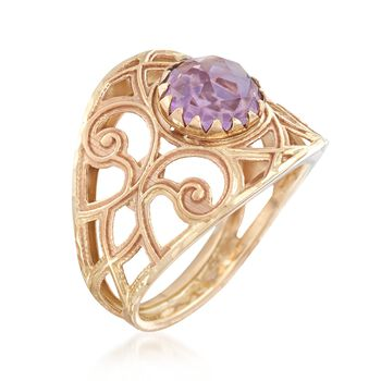 Italian 1.70 Carat Amethyst Ring in 14kt Yellow Gold, , default