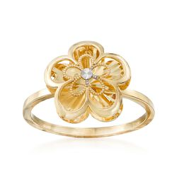 14kt Yellow Gold Dimensional Flower Ring, , default