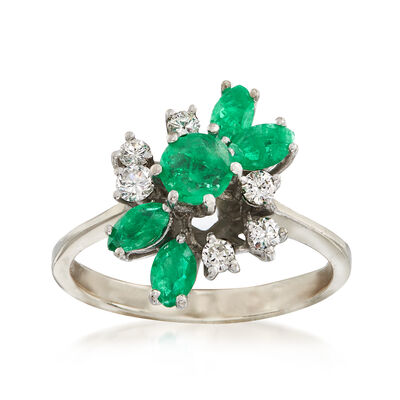 C. 1970 Vintage 1.10 ct. t.w. Emerald and .30 ct. t.w. Diamond Ring in 14kt White Gold, , default