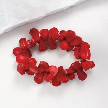 Red Coral Bead Stretch Bracelet, , default