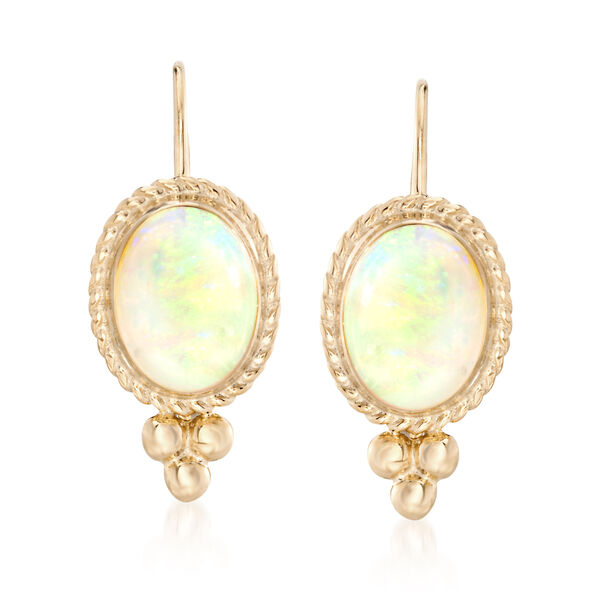 Birthstone Jewelry Opal Rope Edge Earrings in 14kt Yellow Gold #015703