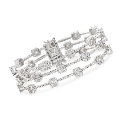 9.75 ct. t.w. Diamond Three-Row Station Bracelet in 18kt White Gold
