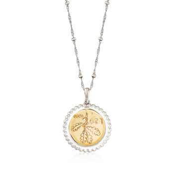 "Italian Genuine 20-Lira Coin Pendant Necklace in Sterling Silver. 18"", , default"