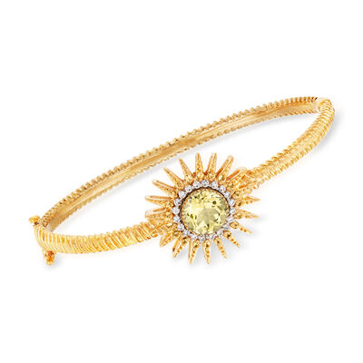 2.50 Carat Lemon Quartz and .50 ct. t.w. Citrine with .26 ct. t.w. Diamond Sun Bracelet in 18kt Gold Over Sterling, , default