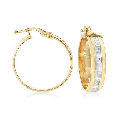 Italian 18kt Two-Tone Gold Greek Key Hoop Earrings, , default