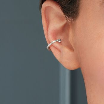 Diamond-Accented Single Ear Cuff in 14kt White Gold