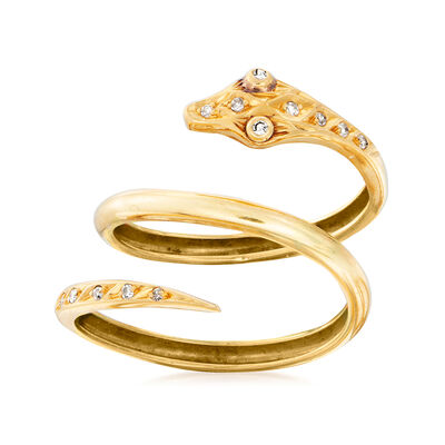 C. 1980 Vintage .12 ct. t.w. Diamond Snake Wrap Ring in 18kt Yellow Gold, , default