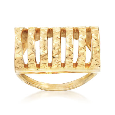 Italian 18kt Yellow Gold Diamond-Cut and Polished Openwork Ring, , default