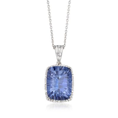 10.00 Carat Blue Quartz and .20 ct. t.w. White Topaz Pendant Necklace in Sterling Silver, , default