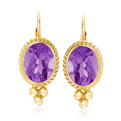 1.20 ct. t.w. Amethyst Rope Edge Earrings in 14kt Yellow Gold, , default