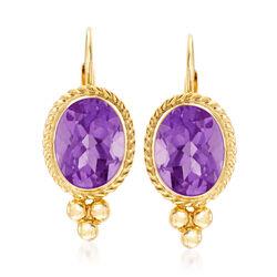 1.20 ct. t.w. Amethyst Rope Edge Earrings in 14kt Yellow Gold, , default