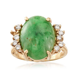 C. 1970 Vintage Nephrite Cabochon and .30 ct. t.w. Diamond Ring in 14kt Yellow Gold, , default