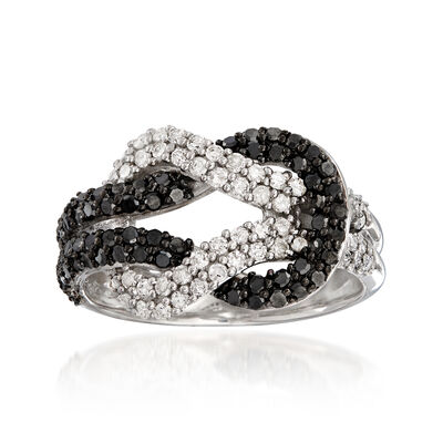 .89 ct. t.w. Black and White Diamond Love Knot Ring in Sterling Silver, , default