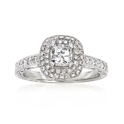 C. 2000 Vintage .59 Carat Certified Diamond Ring with .50 ct. t.w. Diamonds in 18kt White Gold