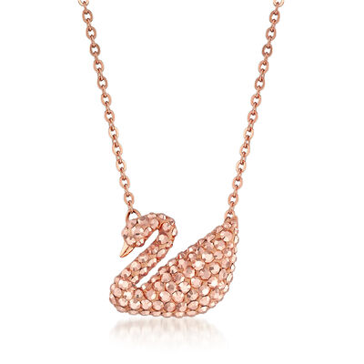 Swarovski Crystal Swan Pendant Necklace in Rose Gold-Plated Metal, , default