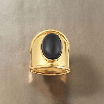 Italian Black Onyx Shield Ring in 24kt Yellow Gold Over Sterling Silver, , default