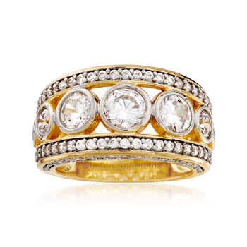 3.50 ct. t.w. CZ Ring in 14kt Yellow Gold Over Sterling Silver, , default