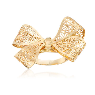 Italian 14kt Yellow Gold Filigree Bow Ring, , default