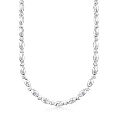 Italian Sterling Silver Oval Bead Necklace, , default