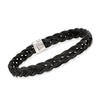 "ALOR Men's Black Stainless Steel Braided Rope Bracelet. 7.75"", , default"