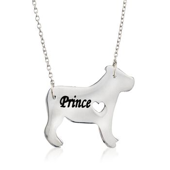 "Sterling Silver English Bulldog Dog Name Necklace. 19"", , default"