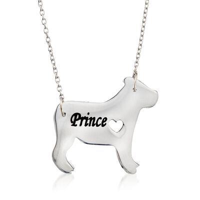 Sterling Silver English Bulldog Dog Name Necklace, , default