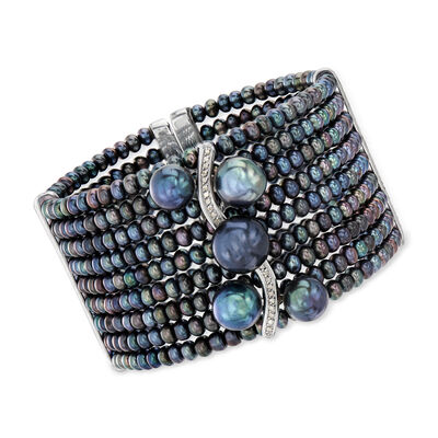 4-11.5mm Black Cultured Pearl and .18 ct. t.w. Diamond Cuff Bracelet in Sterling Silver, , default