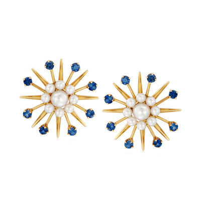 C. 1960 Vintage Cultured Pearl and 1.60 ct. t.w. Sapphire Starburst Earrings in 14kt Yellow Gold, , default