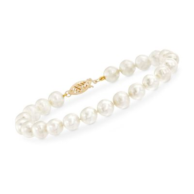 7-7.5mm Cultured Pearl Bracelet with 14kt Yellow Gold Clasp, , default