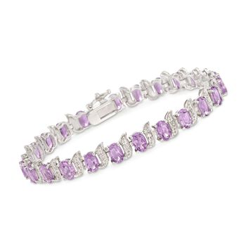 """9.50 ct. t.w. Amethyst and Sterling Silver Beaded S-Link Tennis Bracelet With Diamond Accents. 7"""", , default"""