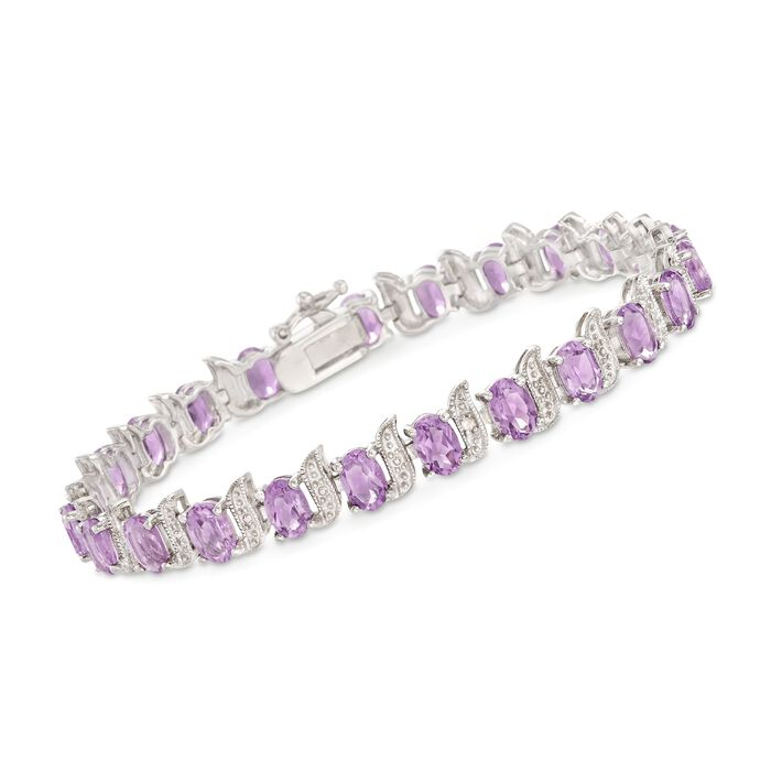 "9.50 ct. t.w. Amethyst and Sterling Silver Beaded S-Link Tennis Bracelet with Diamond Accents. 7"", , default"