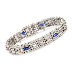 C. 1950 Vintage 3.00 ct. t.w. Synthetic Sapphire and .45 ct. t.w. Diamond Section Bracelet in 14kt White Gold, , default