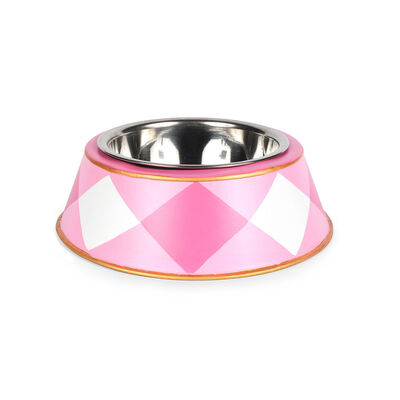 Pink and White Buffalo Plaid Pet Bowl