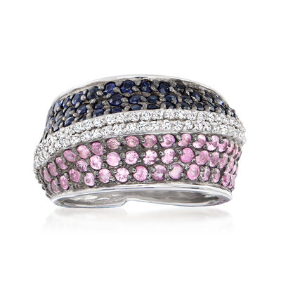 3.40 ct. t.w. Blue and Pink Sapphire Ring with .60 ct. t.w. White Zircon