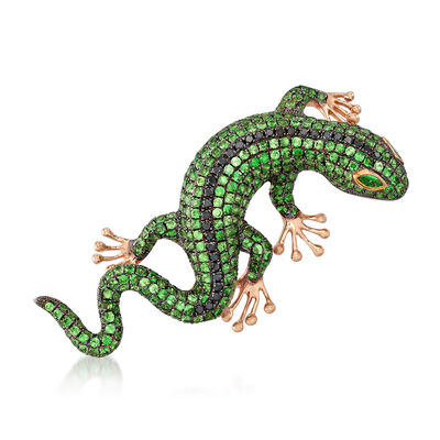 4.91 ct. t.w. Tsavorite and .39 ct. t.w. Black Diamond Lizard Pin Pendant in 18kt Rose Gold , , default