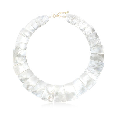 Graduated Mother-Of-Pearl Collar Necklace With 14kt Yellow Gold, , default